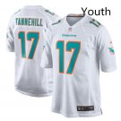 Youth kid Miami Dolphins #17 Ryan Tannehill game jersey white