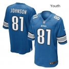 Youth Detroit Lions #81 Calvin Johnson Football jersey blue