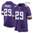 Youth kid Vikings #29 Xavier Rhodes game football jersey purple