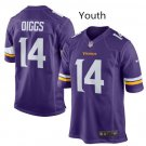 Youth kid Vikings #14 Stefon Diggs game football jersey purple