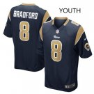 Youth kid Rams #8 Sam Bradford game jersey navy blue