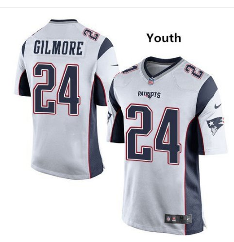 Youth boys Patriots 24 Stephon Gilmore jersey white