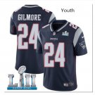 Youth boys Patriots 24 Stephon Gilmore Super Bowl jersey navy blue