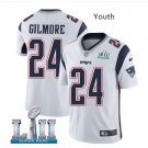 Youth boys Patriots 24 Stephon Gilmore Super Bowl jersey white
