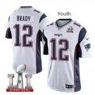 Youth boys Patriots 12 Tom Brady Super Bowl jersey white