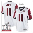 Youth kid falcons #11 julio Jones super bowl stitched jersey white