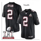 Youth kid falcons #2 Matt Ryan super bowl stitched jersey black