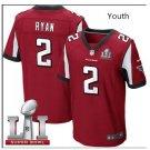 Youth kid falcons #2 Matt Ryan super bowl stitched jersey red