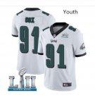 Youth Philadelphia Eagles #91 Fletcher Cox super bowl jersey white