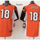 Youth kid Cincinnati Bengals #18 Aj Green Football jersey orange