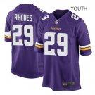 Youth Vikings #29 Xavier Rhodes football jersey purple