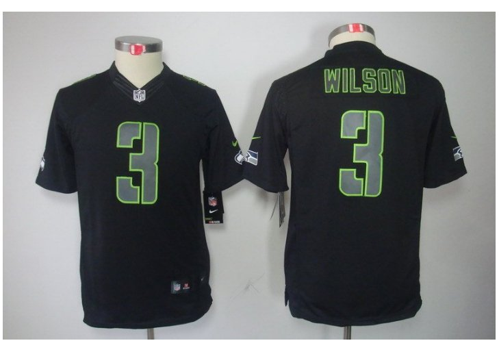 Youth Seahawks #3 Russell Wilson Football jersey
