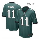 Youth Eagles #11 Carson Wentz stitched jersey green