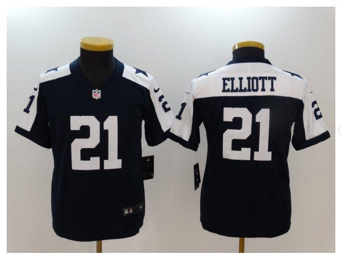 Youth Cowboys #21 Ezekiel Elliott Stitched Football jersey