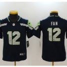 Youth kids Seattle Seahawks #12 Fan football jersey navy