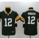 Youth kids Packers #12 Aaron Rodgers stitched Football jersey green