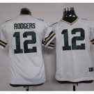 Youth kids Packers #12 Aaron Rodgers stitched Football jersey white