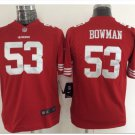 Youth kids 49ers #53 Navorro Bowman stitched football jersey red