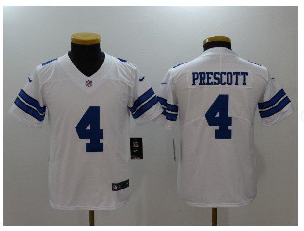 Youth kids Cowboys #4 Dak Prescott white Stitched Football jersey