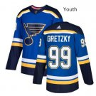 Youth St. Louis Blues 99 Wayne Gretzky Blue Throwback Ice Hockey Jersey