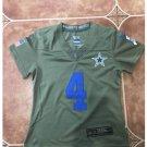 Youth kid Cowboys #4 Dak Prescott stitched jersey salute to service