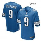 Youth Lions #9 Matthew Stafford stitched jersey blue