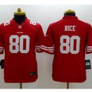 Youth kid Jerry Rice #80 San Francisco 49ers Jersey red
