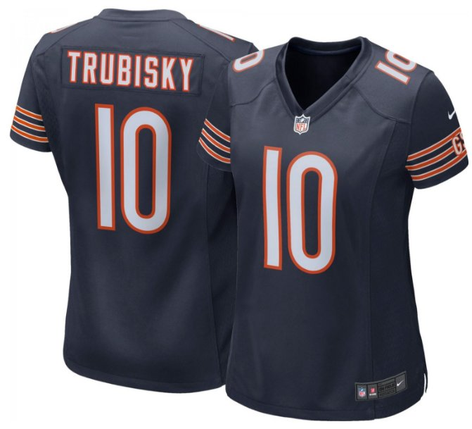 Women Bears #10 Mitchell Trubisky stitched football jersey navy blue