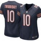 Women Bears #10 Mitchell Trubisky stitched football jersey navy blue