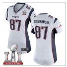 Women's New England Patriots #87 Rob Gronkowski White Game Jersey