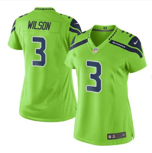 Women's Seattle Seahawks #3 Russell Wilson Neon Green Color Rush Limited Jersey