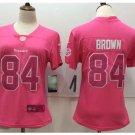 Women Pittsburge Steelers #84 Antonio Brown pink fashion jersey