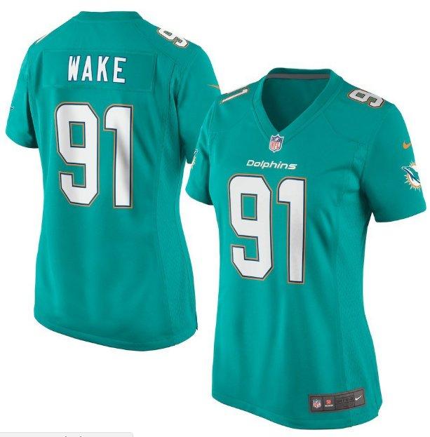 Women's Miami Dolphins #91 Cameron Wake Aqua Limited football Jersey