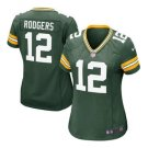 Women's Green Bay Packers #12 Aaron Rodgers Green Limited football Jerseys