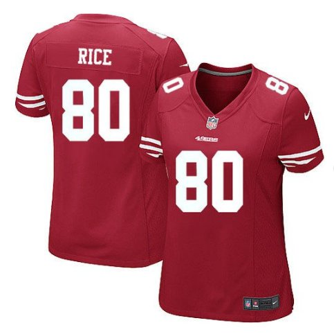 Women's San Francisco 49ers #80 Jerry Rice Football jersey red
