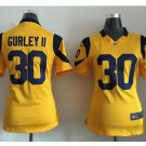 Women's Los Angels Rams #30 Todd Gurley Football jersey navy yellow