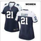 Women's Cowboys #21 Ezekiel Elliott game jersey blue white