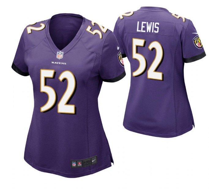 Women Baltimore Ravens #52 Ray Lewis game jersey purple