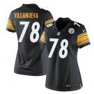 Women's Steelers #78 Alejandro Villanueva football jersey black