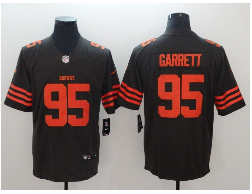 Men's Browns #95 Myles Garrett color rush Limited jersey brown