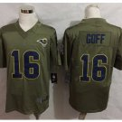 Men's Los Angels Rams #16 Jared Goff salute to service Jersey olive