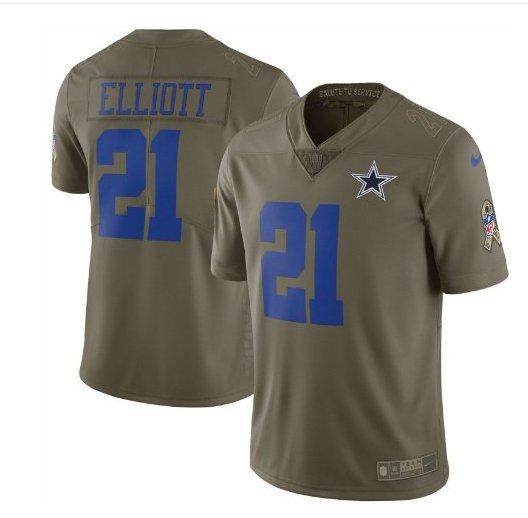 Men's Cowboys #21 Ezekiel Elliott salute to service limited jersey olive