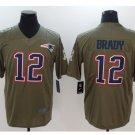 Men's Patriots 12 Tom Brady salute to service limited jersey olive