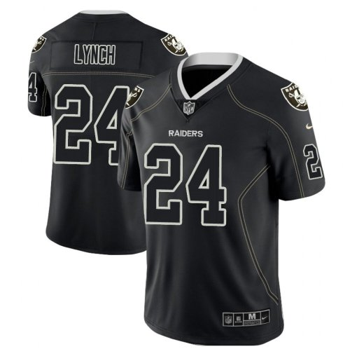 Men Raiders Marshawn Lynch Black color rush Limited lights out jersey