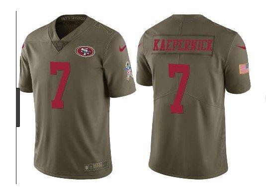 Men's 49ers #7 Colin Kaepernick salute to service jersey olive green