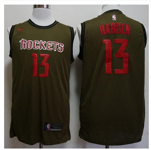 Mens Houston Rockets #13 James Harden Olive Jersey NEW