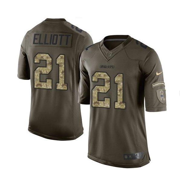 Men's Dallas Cowboys #21 ezekiel elliott salute to service jersey green camo