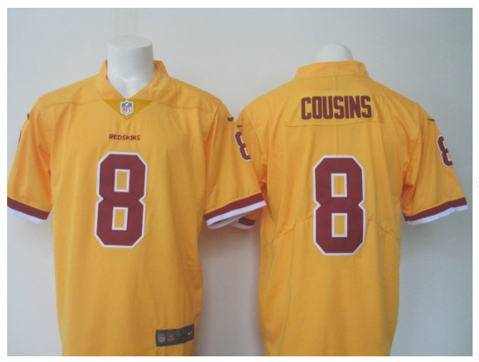 Men's Redskins #8 Kirk Cousins color rush Limited jersey yellow