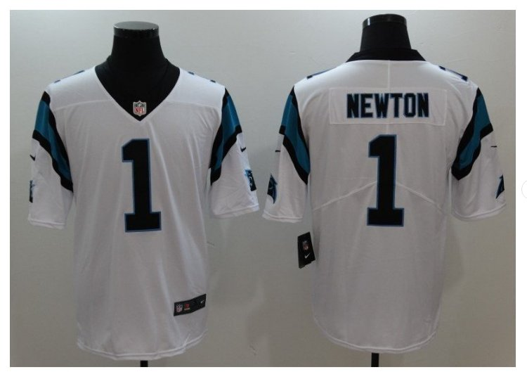 Men's Carolina Panthers #1 Cam Newton color rush Limited jersey white