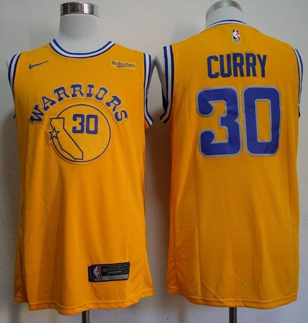 Men's Golden State Warriors 30 Stephen Curry Jersey Yellow NEW